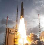 Ariane 5 launch of Sicral 2 and Thor 7, April 2015 (Arianespace)