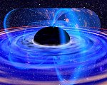 Black hole slowed by magnetic field (NASA/GSFC illus.)