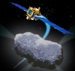 DS1 flies by comet Borrelly (NASA/JPL illus.)