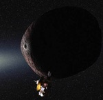 New Horizons flying past 2014 MU69 (NASA/SwRI illus.)