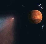Comet Siding Spring flies past Mars (NASA illus.)