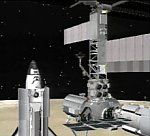 STS-110 docking with ISS (NASA illus.)