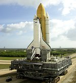 STS-110 Atlantis rolls out to pad 39B (NASA/KSC)